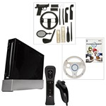 Black Nintendo Wii with Sports and Resort MarioKart and Wheel and Accessories