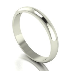 9ct White Gold 3mm D Shaped Wedding Ring