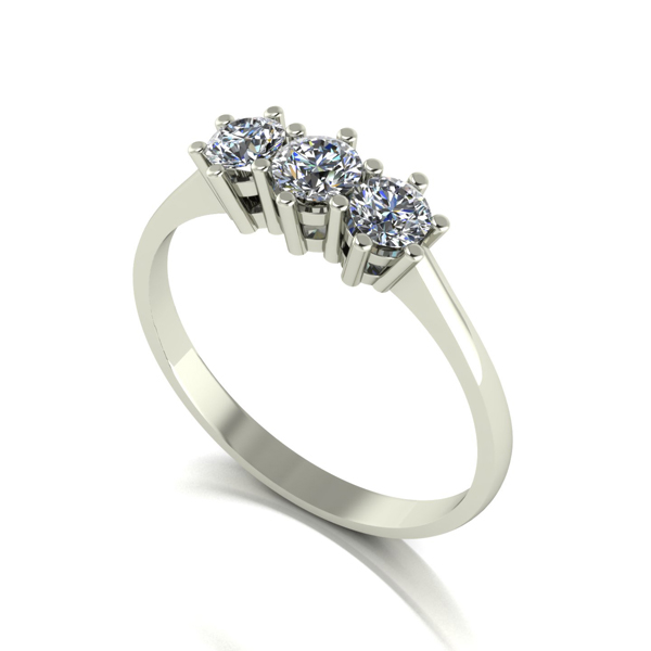 Moissanite 9ct Gold 0.50ct eq Trilogy Ring White Gold