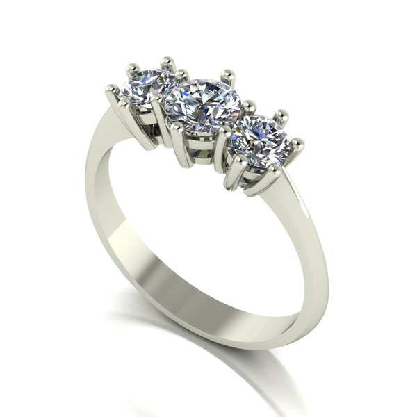 Moissanite 9ct Gold 1.00ct eq Trilogy Ring White Gold