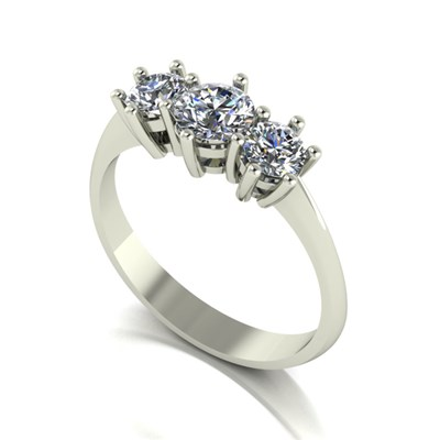 Moissanite 9ct Gold 1.00ct eq Trilogy Ring