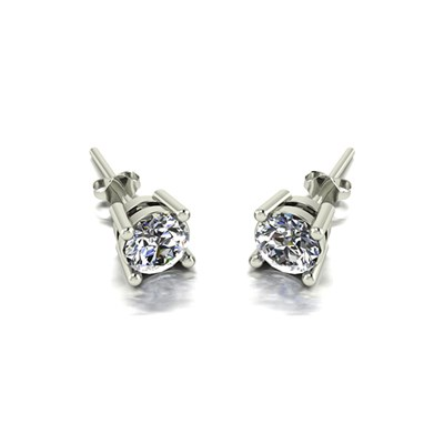 Moissanite 9ct Gold 1.00ct eq Finesse Solitaire Earrings (p)