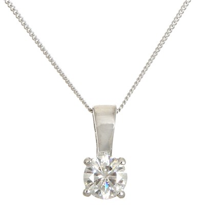 Moissanite 9ct Gold 0.50ct eq Brilliant Cut Solitaire Pendant on 18 inch Chain