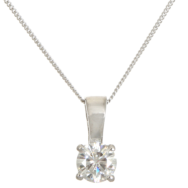 Moissanite 9ct Gold 0.50ct eq Brilliant Cut Solitaire Pendant on 18 inch Chain White Gold