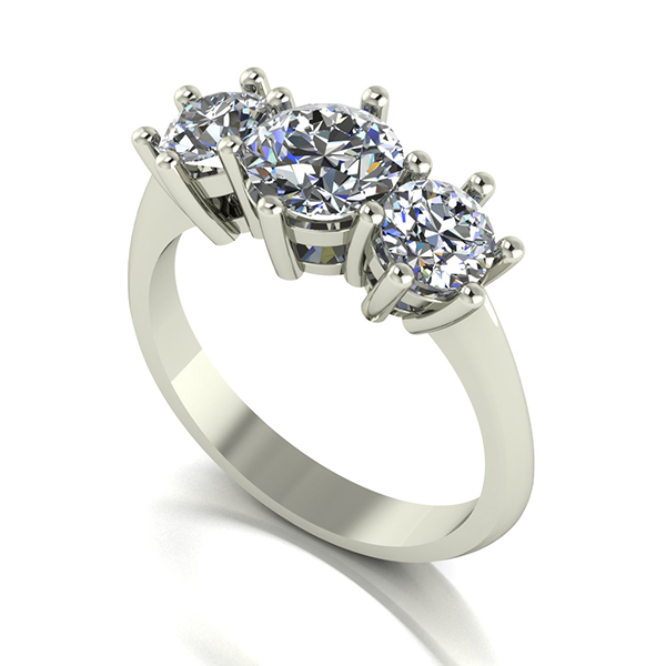 Moissanite 9ct Gold 2.00ct eq Trilogy Ring White Gold