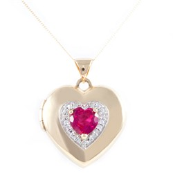 Sovereign 9ct Yellow Gold Ruby and CZ Heart Locket with 18 inch Chain