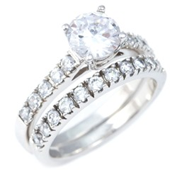 Sovereign Platinum Plated Sterling Silver CZ Two Tier Ring
