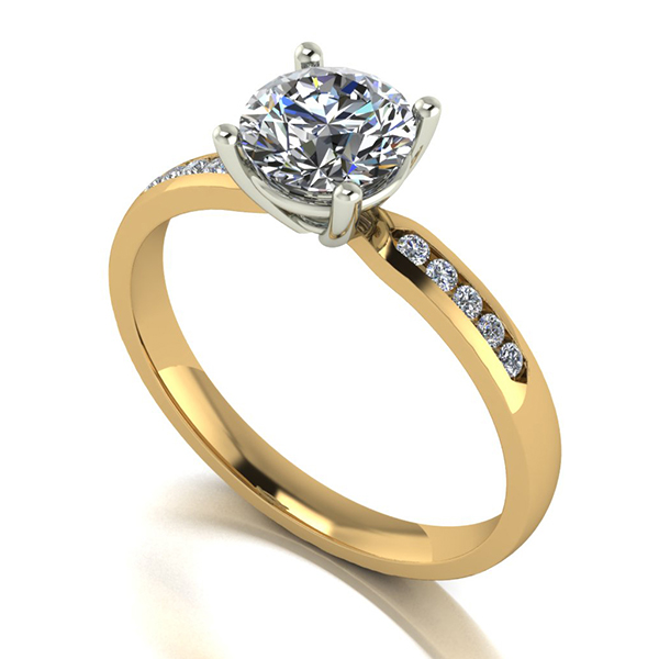 Moissanite 9ct Gold 1.10ct eq Solitaire Ring with Shoulder Detail