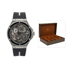 Constantin Weisz Gents Hand Winding Watch with Skeleton Dial, Small Second Indication and Silicon Strap with Bonus Collectors Box for 8 Watches