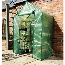 Compact Walk-in Greenhouse With Shelving
