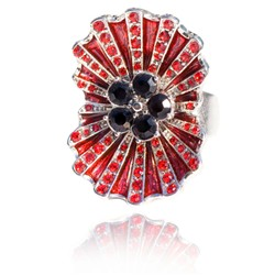 Kleshna Poppy Art Deco Inspired Silver Plated Enamel and Crystal Adjustable Ring