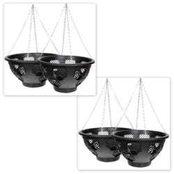 Set of 4 14 Inch Easy Fill Hanging Baskets