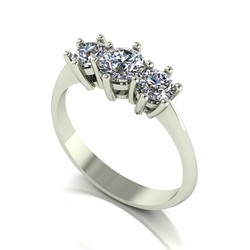 9ct Gold Diamond 1.00ct Trilogy Ring