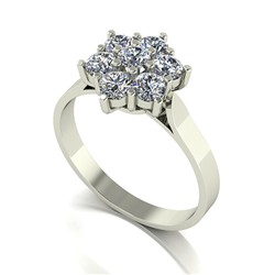 9ct Gold Diamond 1.00ct 7 Stone Cluster Ring