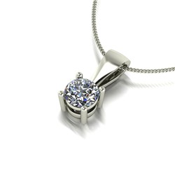 9ct Gold Diamond 0.25ct Solitaire Pendant on 18 inch Chain
