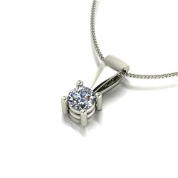 9ct Gold Diamond 0.50ct Solitaire Pendant on 18 inch Chain