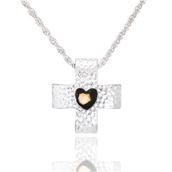 Silver Plated Heart of Grace Nativity Stone Cross Pendant with 22 Inch Rope Chain