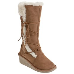 Tall Wedge Faux Fur Trim Tie Detail Boots