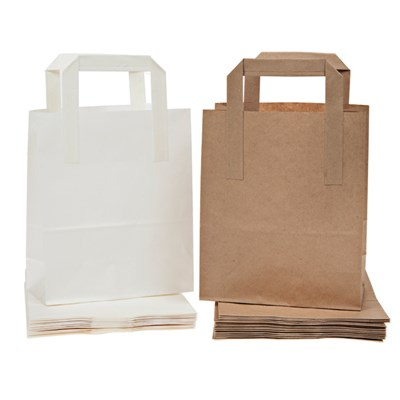 Pack of 30 Gift Bags in White and Kraft Paper 120 GSM