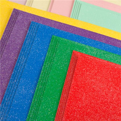 Create and Craft Pack of 50 Bright and Pastel A4 Glitter Card 250GSM