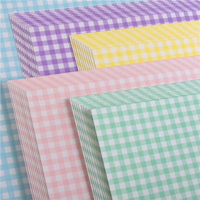 Create and Craft Pack of 50 A4 Double Sided Gingham Pastel Cardstock 250 GSM