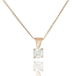 Moissanite 9ct Gold 0.25ct eq Solitaire Pendant on 18 inch Chain