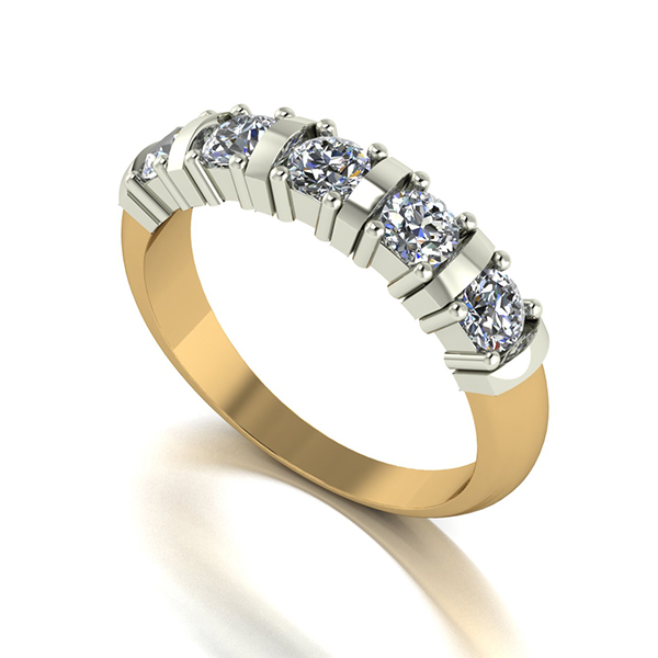 Moissanite 9ct Gold 1.00ct eq 5 Stone Ring Yellow Gold