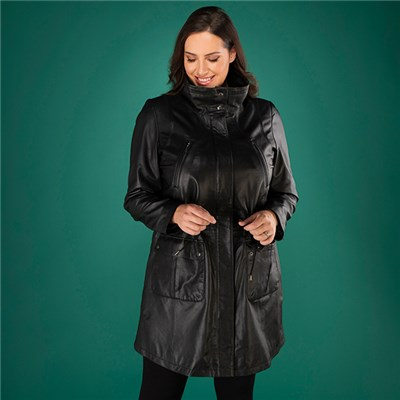 Woodland Leather Ladies Drawstring Parka