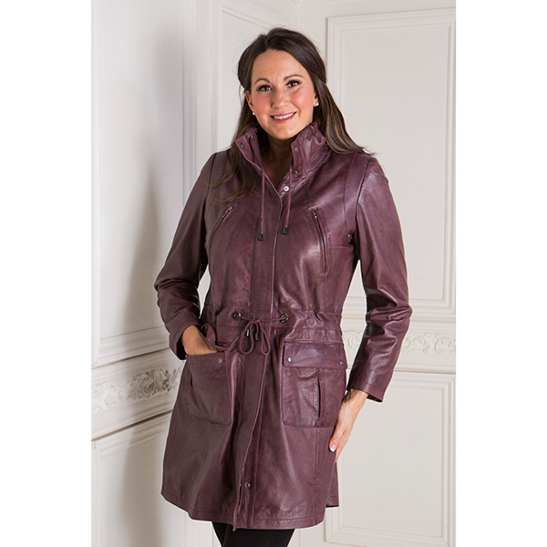 Woodland Leather Ladies Drawstring Parka with Cuffs Berry