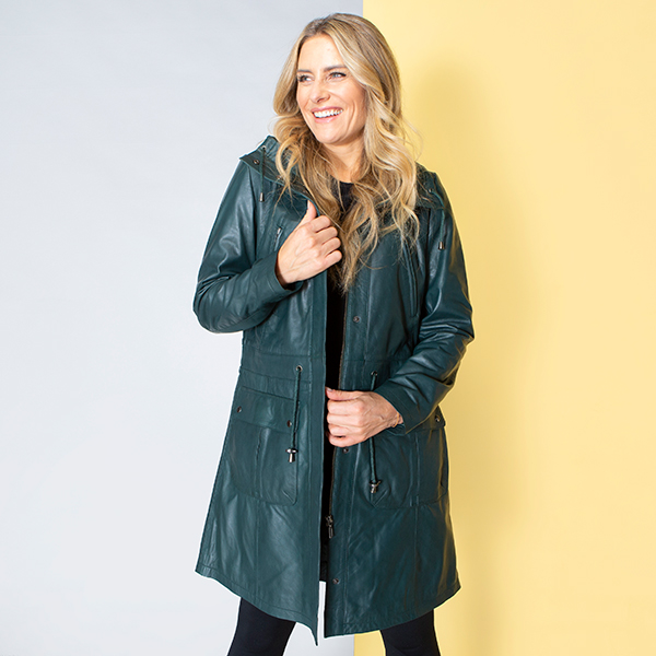 Woodland Leather Ladies Drawstring Parka with Cuffs Forest Green