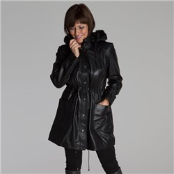 Woodland Leather Ladies Drawstring Parka With Faux Fur Hood
