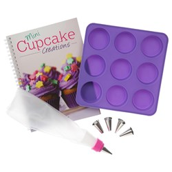 Mini Cupcake Selection Gift Box including Silicone Tray, Recipe Book and Piping Bags