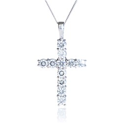 Moissanite 9ct Gold 1.20ct eq Classic Cross Pendant on 18 inch Chain