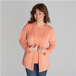 Diamante Soft Touch Cardigan with Short Sleeve Top