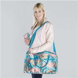 Floral Print Satin Weekender With Free Floral Print Satin Wallet