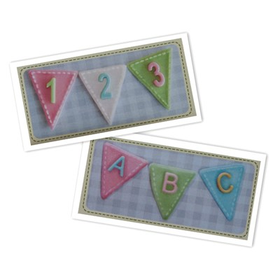 Katy Sue Designs Alphabet and Numbers in Bunting Silicone Design Mats