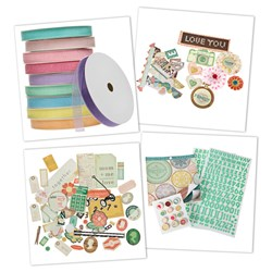 American Crafts Embellishment Collection with FREE Close Knit Ephemera Pack and FREE Create and Craft Pastel Blush Organza Ribbons