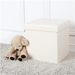 NEAT Medium Faux Leather Cream Ottoman