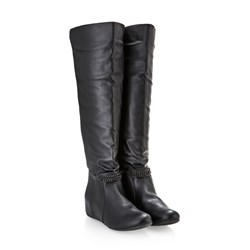 f&s Knee High Wedge Boots with Removable Trim