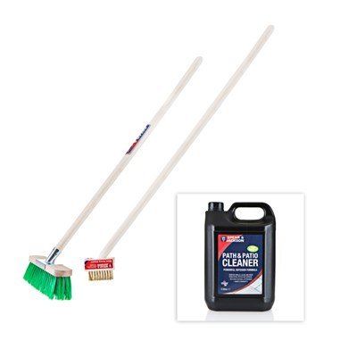 Spear and Jackson Path and Patio Cleaning Super Kit - Includes Path and Patio Cleaner - Wire and Nylon Long Handle Brush - Block Paving Cleaner and Scraper