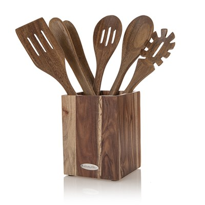 Natural Life 5 Piece Acacia Tool Set in Acacia Wooden Holder