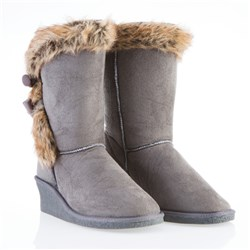 f&s Luxury Faux Fur Trim Toggle Wedge Boots