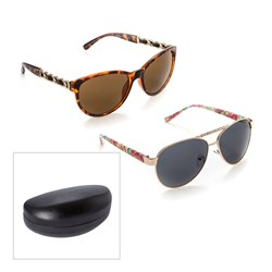 Two Pairs of Ladies Sunglasses, Hard Case and Carry Pouch