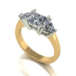 Moissanite 9ct Gold 2.00ct eq Mixed Cut Trilogy Ring
