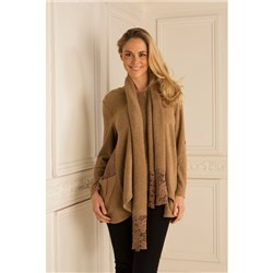 Sugar Crisp Boucle Lace Insert Knit Top with Scarf