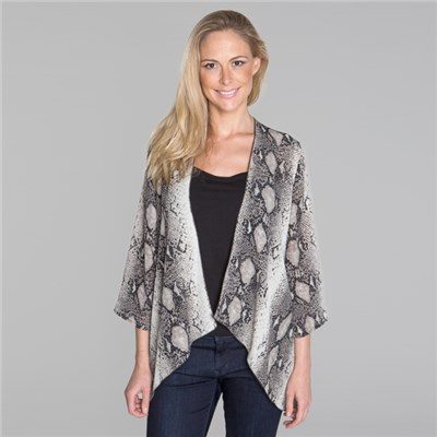 Reflections Printed Georgette Jacket with Sharkbite Hem