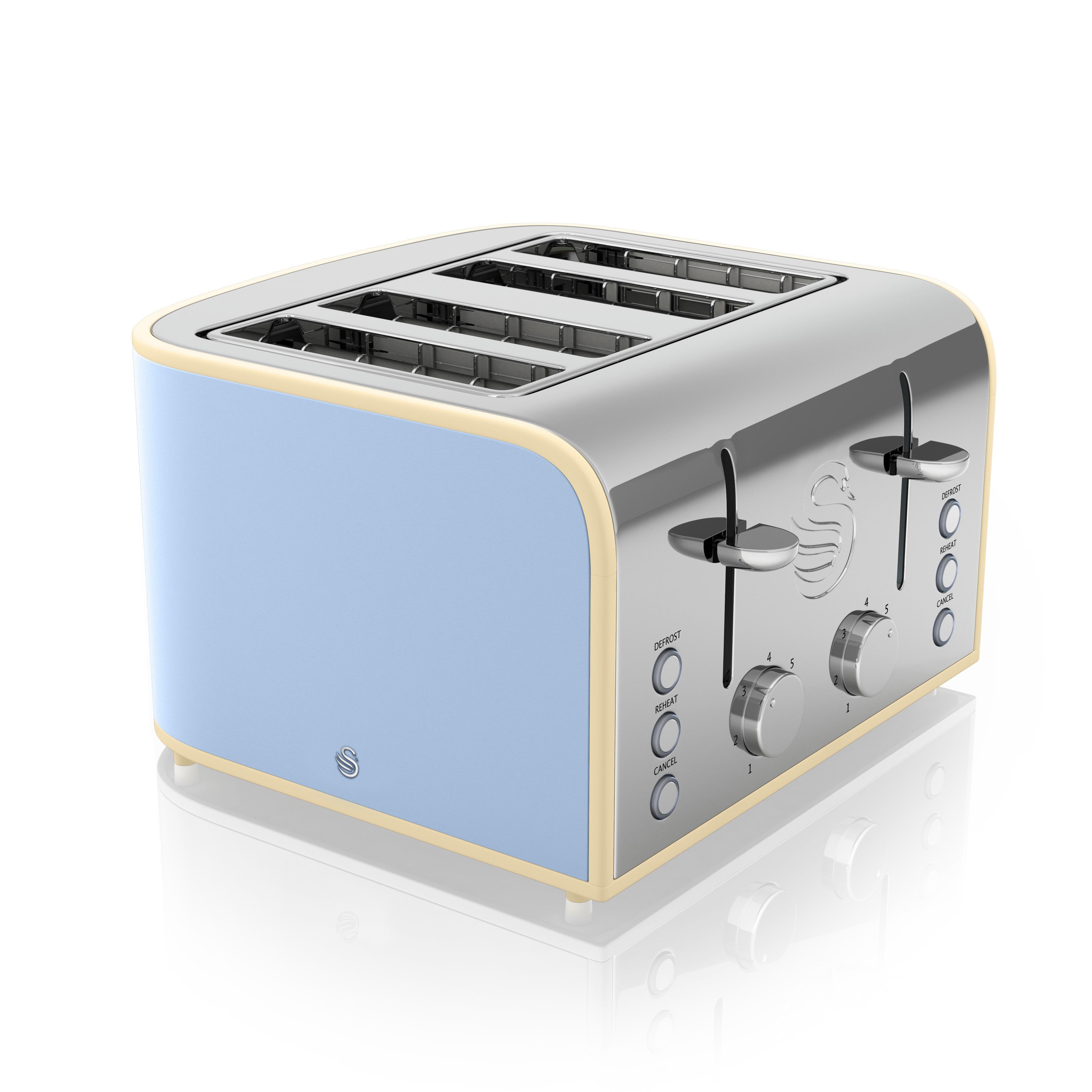 Swan 4 Slice Blue Toaster - Blue No Colour