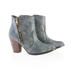 Dolcis Metallic Ankle Boot with Multi Colour Zip