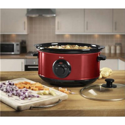 Swan 3.5 Litre Rouge Slow Cooker - Red