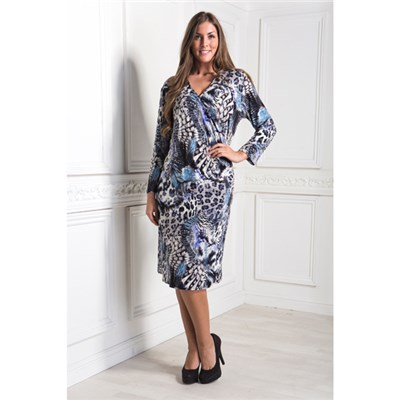 Reflections Mid Length Sleeve Printed Wrap Dress